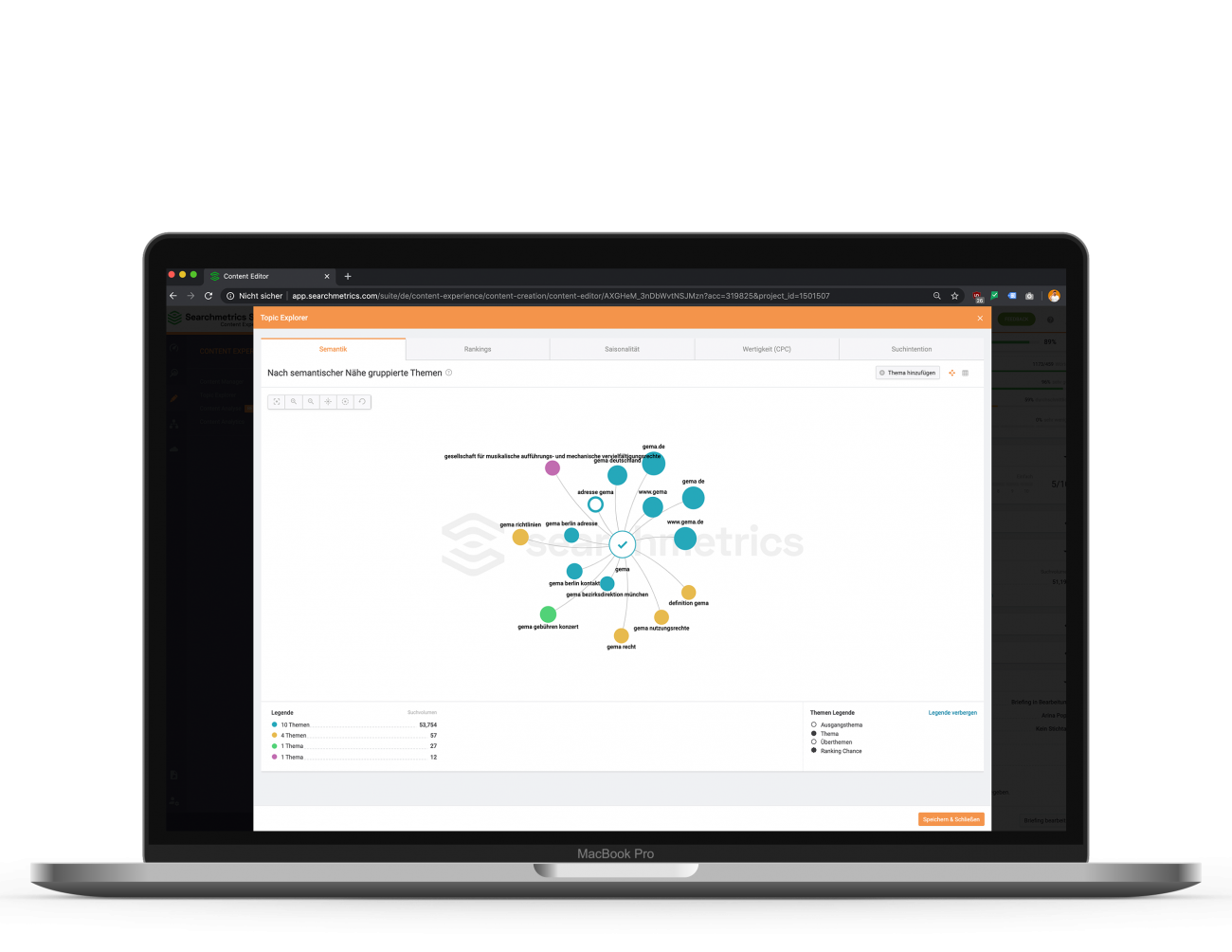 Leistung: Mockup Macbook Searchmetrics Content Tool